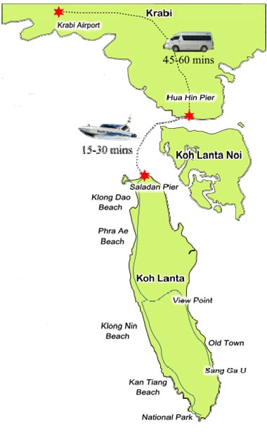 Koh Lanta transfer taxi speedboat map